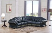 Living Room Furniture Leather Sectionals Apolo Sectional Black